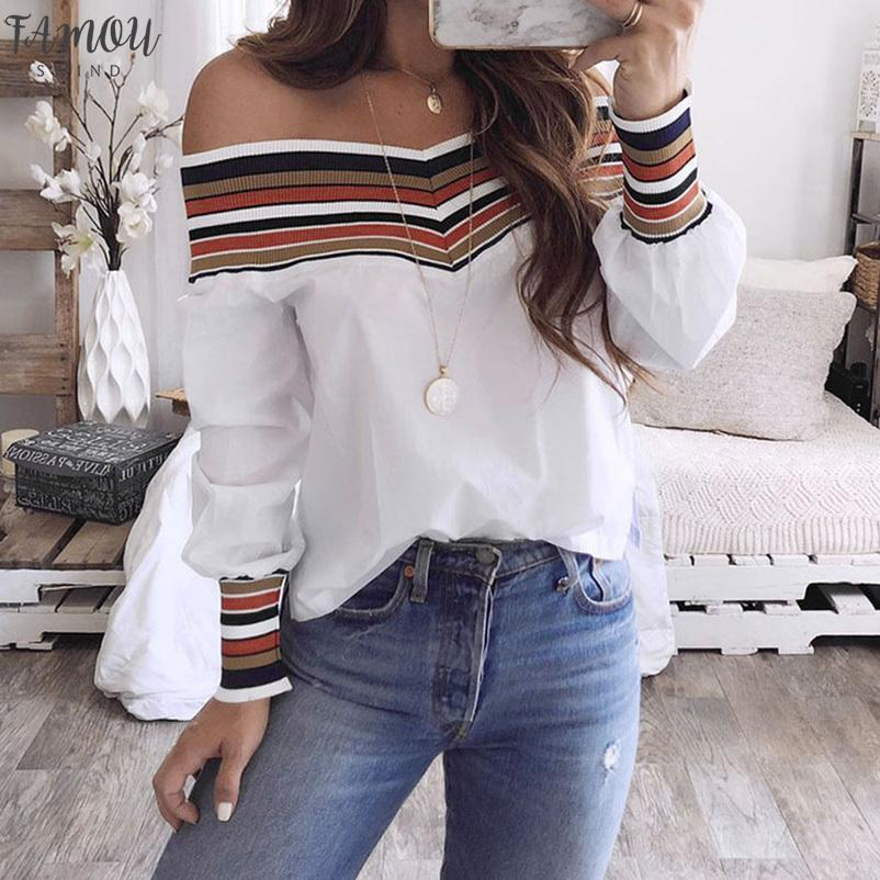 Womens Clothing Women Autumn Long Sleeve Casual Multicolor Long Sleeve Off Shoulder Top Blouse Blusas Mujer De Moda