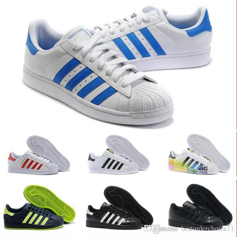 adidas superstar smith allstar Originals Qualidade 2019 Superstar Sapatos casuais Holograma Iridescente Júnior Super Estrela 80 s Orgulho Superstars Homens Mulheres Tênis Em