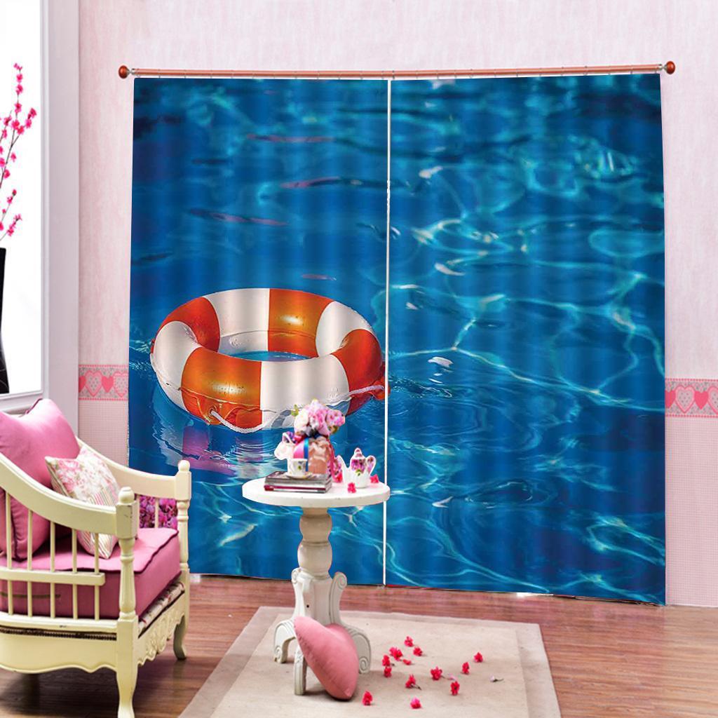 Colorido anillo de la nadada del tema el de onda de impresión digital agua cortina azul para sala dormitorio ventana con climatizador, la decoración de interiores