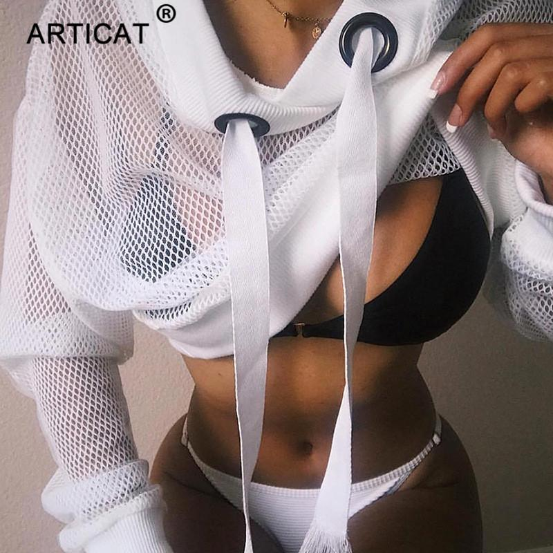 Articat Sexy Mesh Cropped Hoodies Women Sweatshirt Autumn Long Sleeve Transparent Fishnet Crop Top White Black Casual Pullover