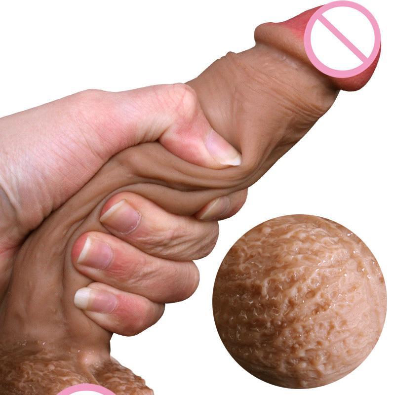 Réel Peau Sentir Silicone Doux Gode Ventouse Réaliste Pénis Grosse Bite Sex Toys Pour Femme Produits Strapon Godes Pour Femmes Y200410