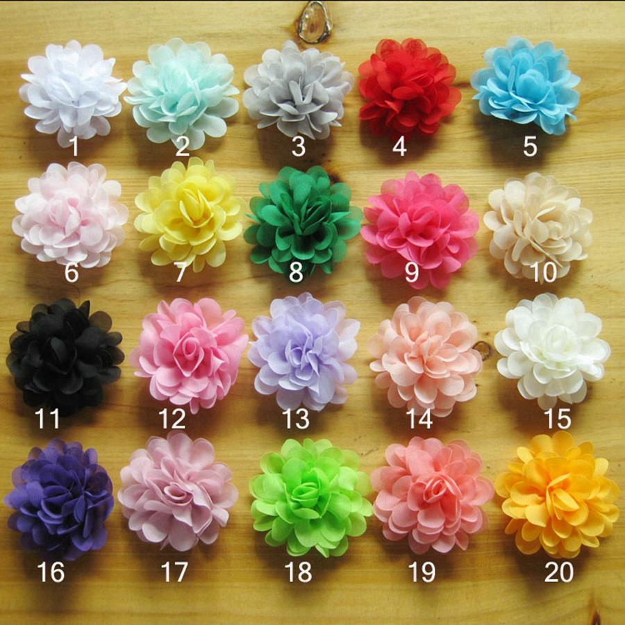 어린이 헤어핀 헤어 액세서리 공예 꽃 DIY 아기 머리띠 파티 호의 RRA3076에 대한 7CM 소프트 세련된 쉬폰 꽃 Flatback 렛트 꽃