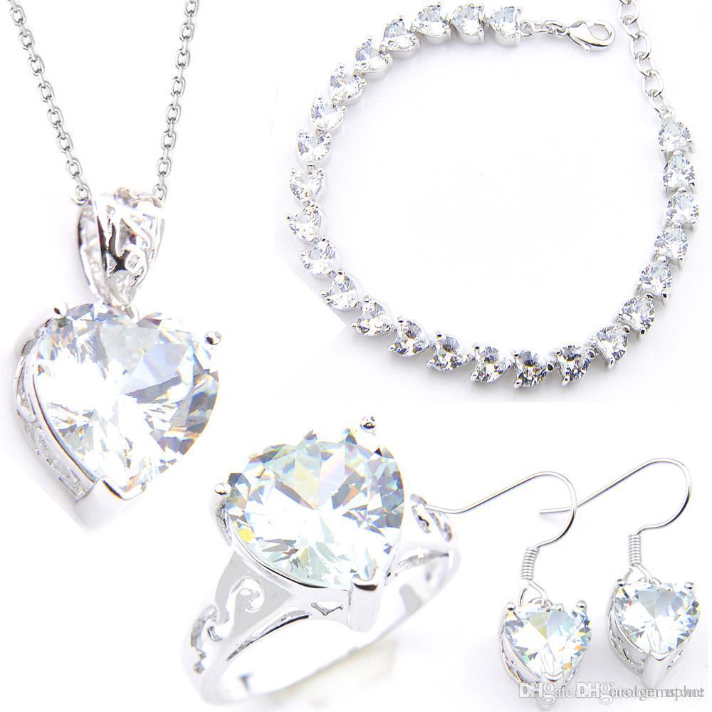 Argent Sterling 925 violet cristal Coeur Bracelet Boucles d/'oreilles Collier Bijoux Sets