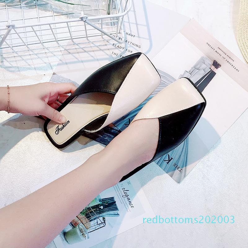 Venta caliente del dedo del pie-Fuera de baja cerrado completamente con las mujeres zapatillas de verano sólidas Diapositivas Ocio retro mujeres forman los zapatos de r03
