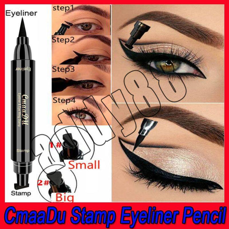 2019 Nouvel outil de maquillage pour les yeux evpct Crayon pour l'eye-liner à extrémité double + tampon Triangle Seal Eyeliner 2 en 1 Eyeliner liquide étanche DHL Livraison gratuite