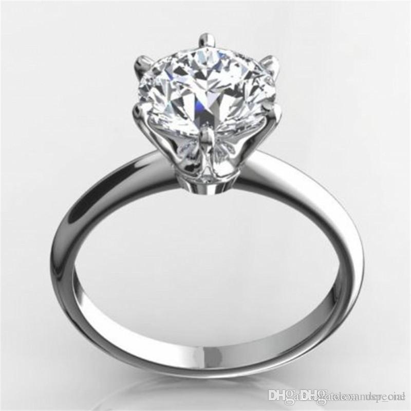USpecial Classic Luxury Solid Real 925 Bague en argent sterling 2CT ronds SONA diamant Bijoux de mariage Bagues de fiançailles pour les femmes Taille 4-9
