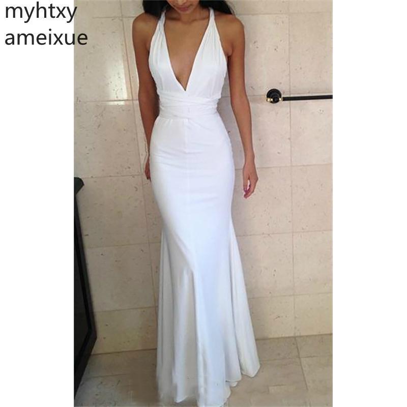 Profundo Mermaid Prom Dress Longo Sexy baratos Formal Red Evening vestidos brancos Backless 2019 frete grátis New Arrival Vestido Trumpet