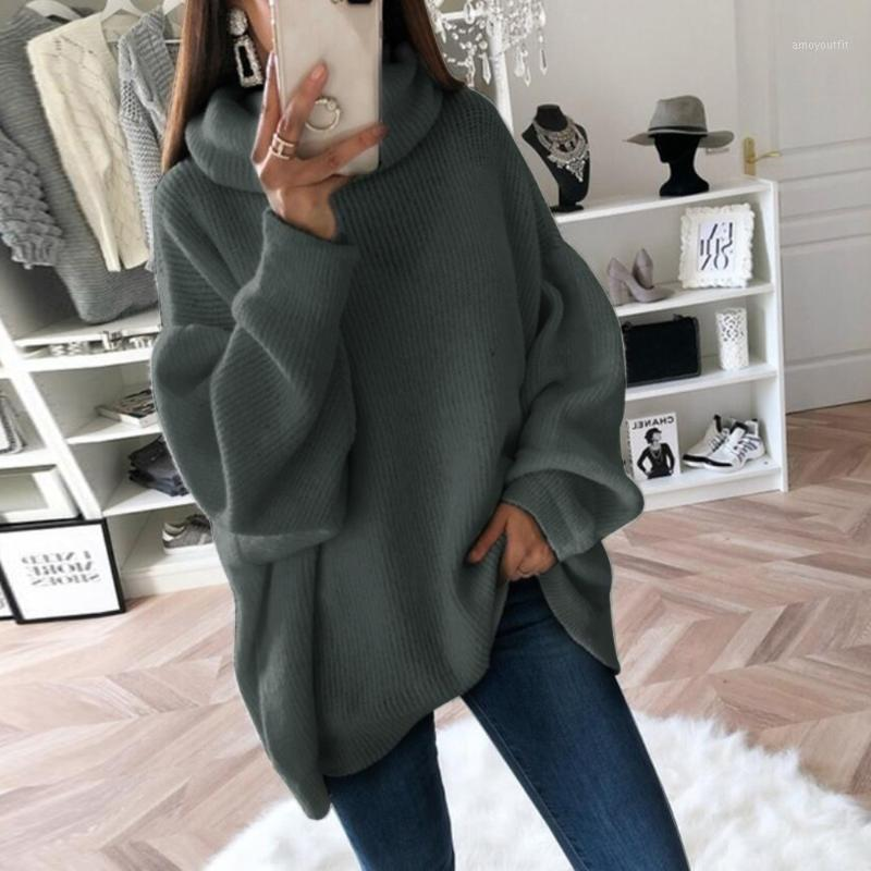 Casual Loose Autumn Winter Turtleneck Sweater Women Solid Knitted Sweaters Warm Long Sleeve Pullover Sweater Black Pink1