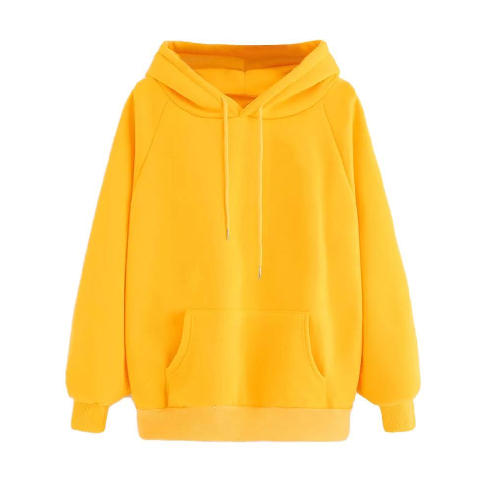Vestiti delle donne Womens Hoodie Donne Giallo con cappuccio Autunno Felpa Pocket Solid coulisse cappuccio Colore solido casuale Pullover Gv