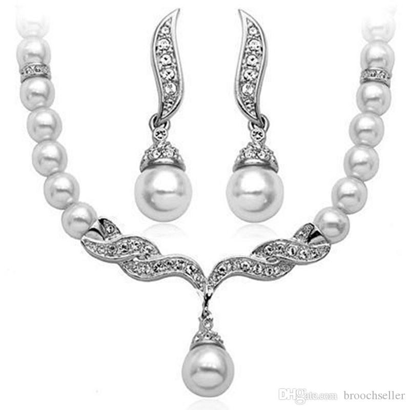 White Gold Tone Tear Drop White Faux Pearl and Rhinestone Crystal Diamante Wedding Necklace and earrings Jewelry Sets