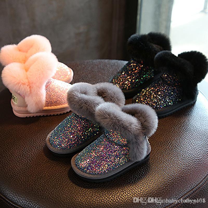 أطفال أحذية الثلوج في فصل الشتاء الدفء أحذية أطفال وصفت الفتيات القطن أفخم الأحذية منتصف cralf الطفل الأحذية
