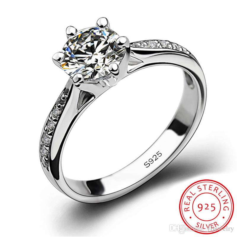 Solid 925 Sterling Silver Ring 1ct Classic Style Diamond Jewelry Moissanite Ring Wedding Party Anniversary Ring For Women Gift Box XR016