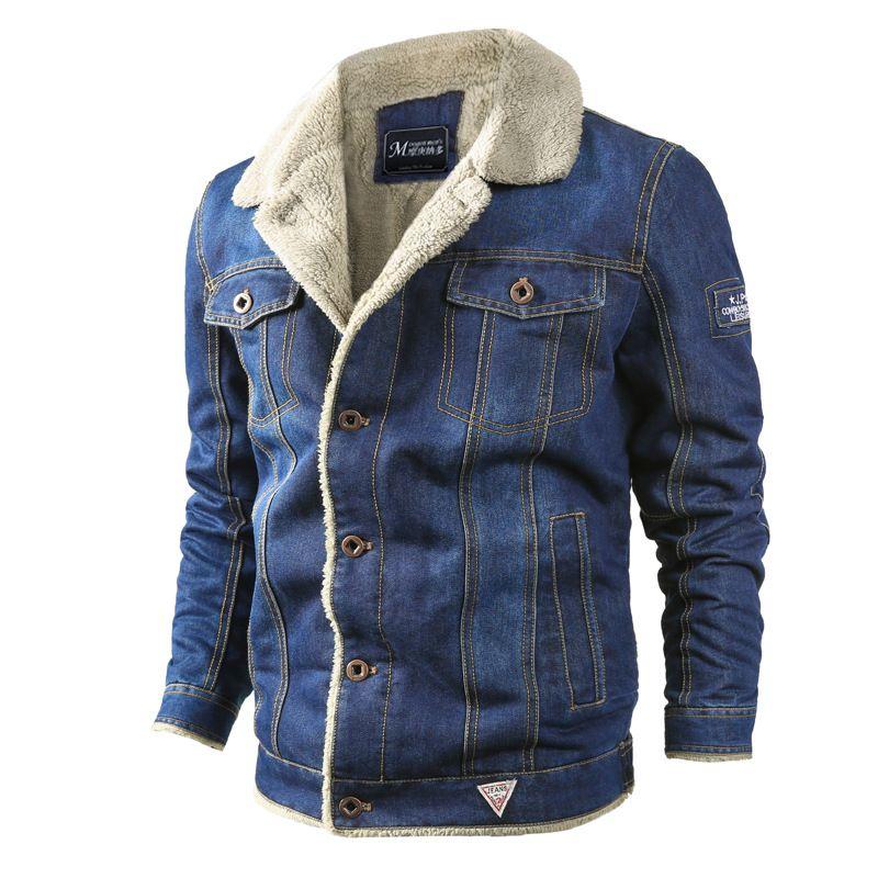 남성 패션 짧은 데님 두꺼운 재킷 오버 사이즈 시즌 옷깃 목 코트 닳은 빈티지 포켓 남성 스트리트 의류