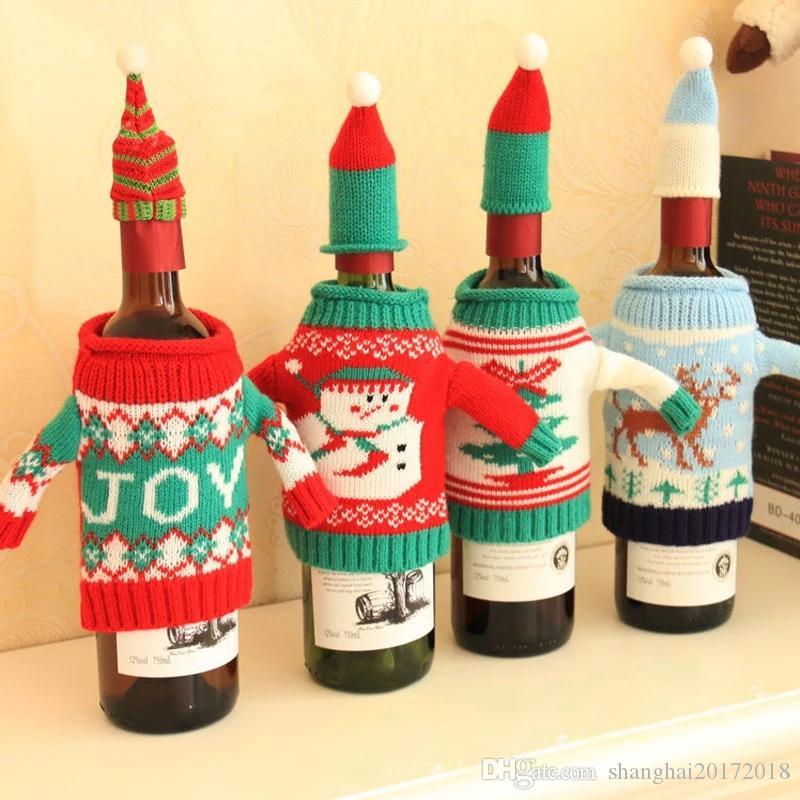 Noel Örme Triko Coat Hat Şarap Şişesi Wrap Kapak Çanta Topper Yemeği Masa Parti Dekor Noel Baba Şenlikli Yeni Yıl