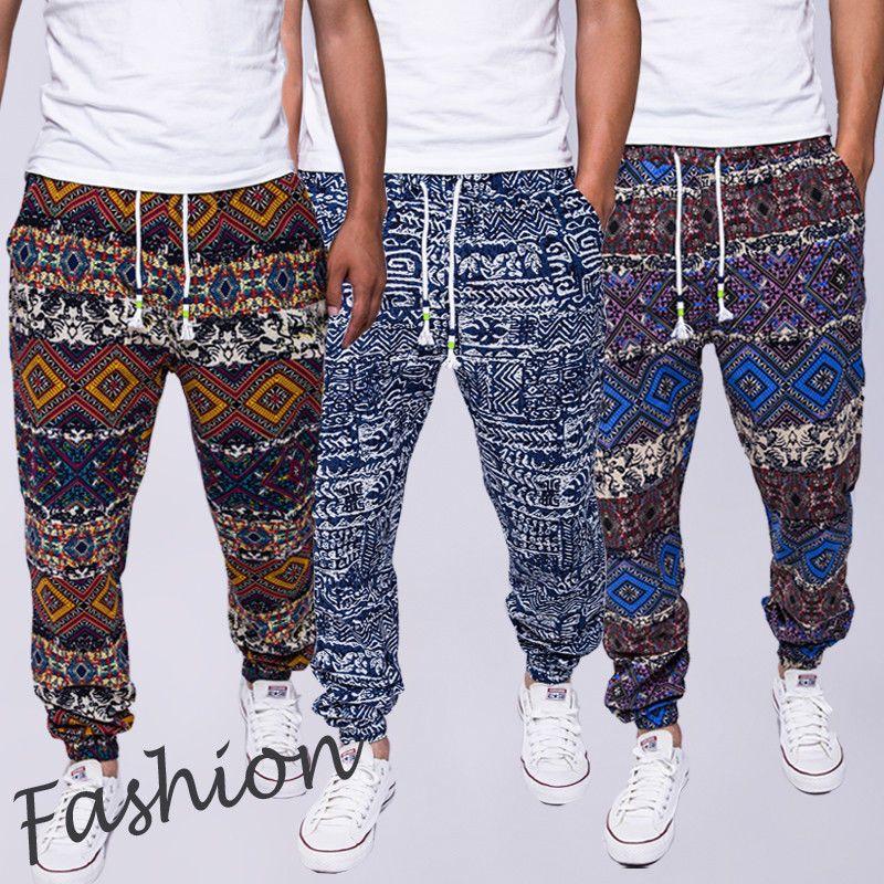 Thefound 2019 Yeni Erkekler Rasgele Çiçek Baskı Pantolon Spor Fit Uzun Pantolon Sweatpants