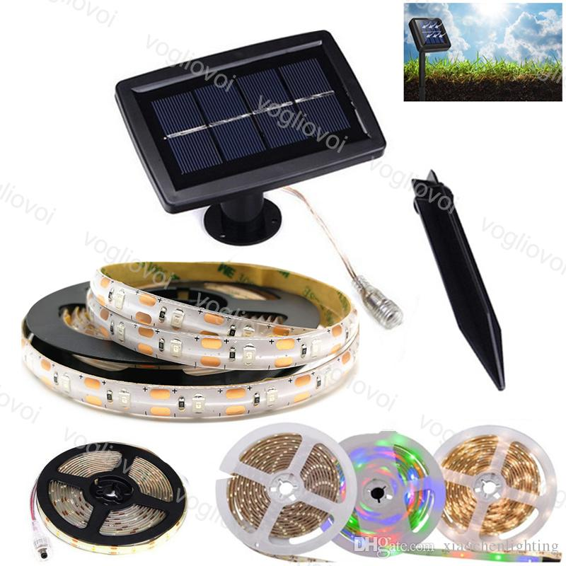 Solar Garden Lights Led Strip SMD2835 5M 150LED Cool White Multicolor Waterproof IP65 For Christmas Wedding Party Garden DHL
