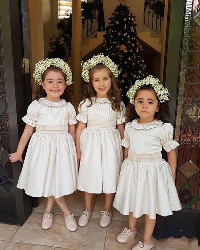 2019 Cute Vintage Short Sleeve Flower Girls Dresses Jewel Neck Tea Length First Communion Dresses Girls Pageant Gown Cheap Hot Sale