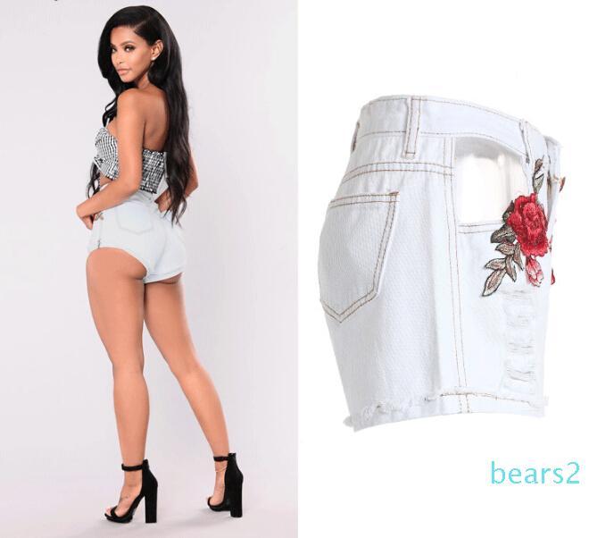 High Street Wear Yeni Moda Beyaz Kırık Delikler Gül İşlemeli fırfırlar Kot Şort Yüksek Bel Pantolon ky08