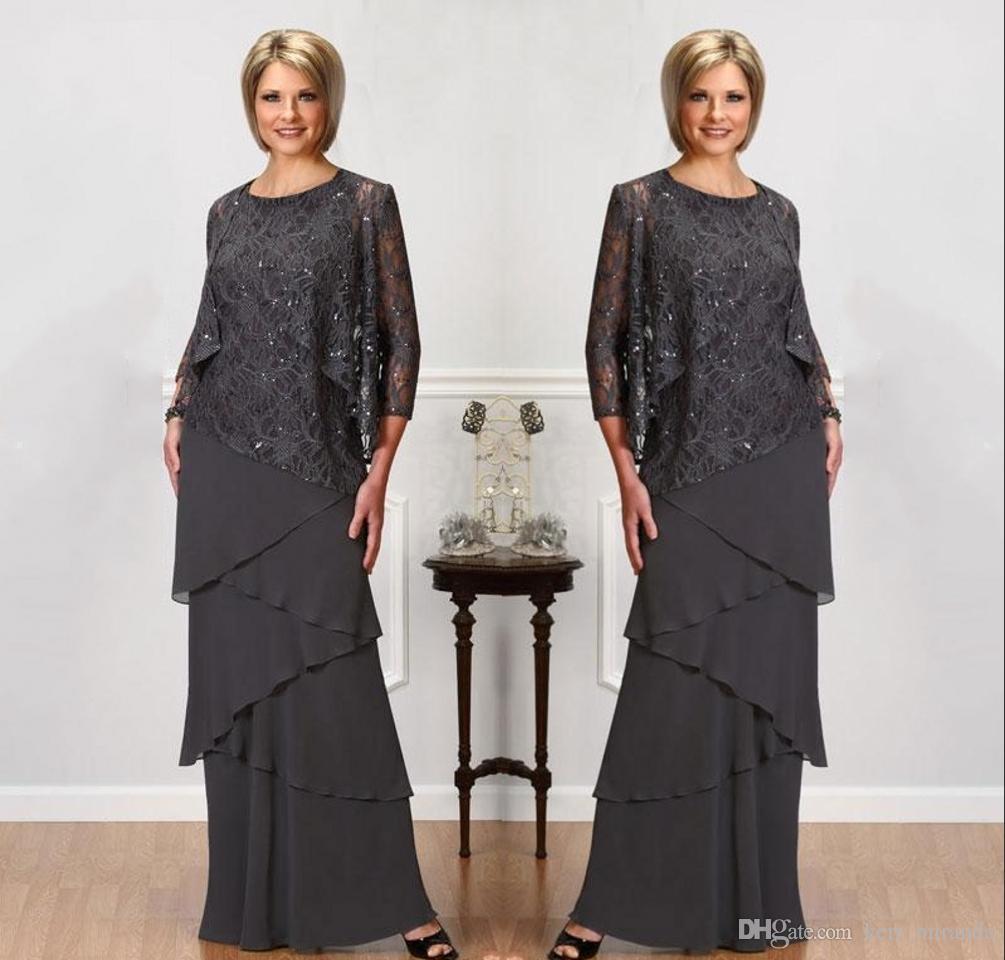 Uzun Kollu Ceket Mücevher Boyun payetli Abiye Giyim Kat Uzunluk Düğün Balo Elbise ile Gelin Elbise Of Grey Dantel Anne