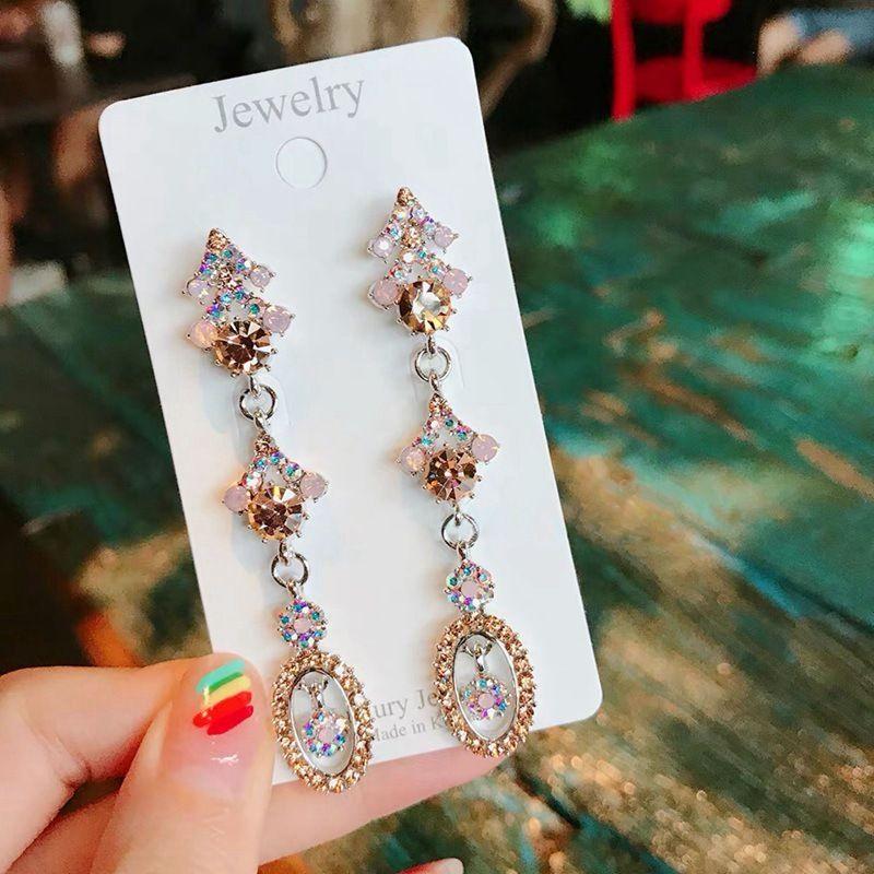 MENGJIQIAO Korean New Luxury Oval Kristall Lange Pendientes für Frauen Mujer Moda übertriebene Strass-Partei-Tropfen-Ohrringe