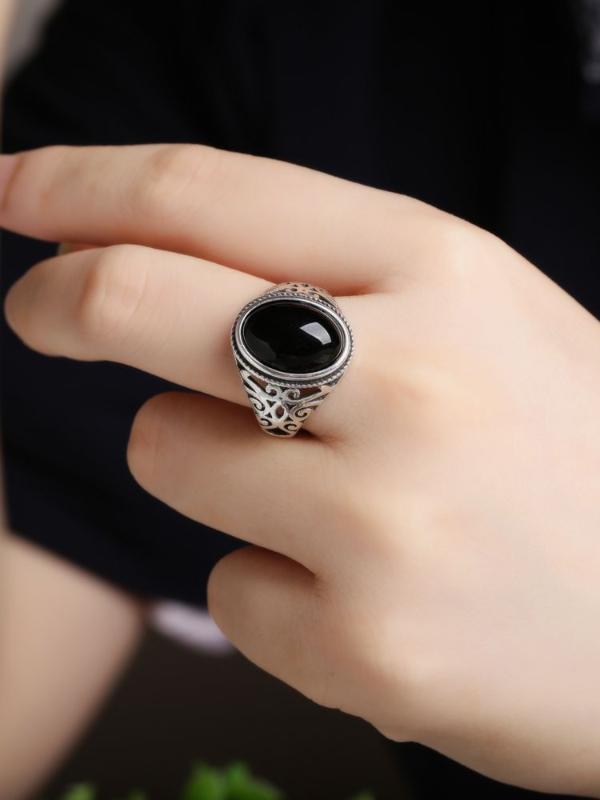Природный нефрит агата кольца женщины драгоценного камень ретро открытие личности моды кольцо
