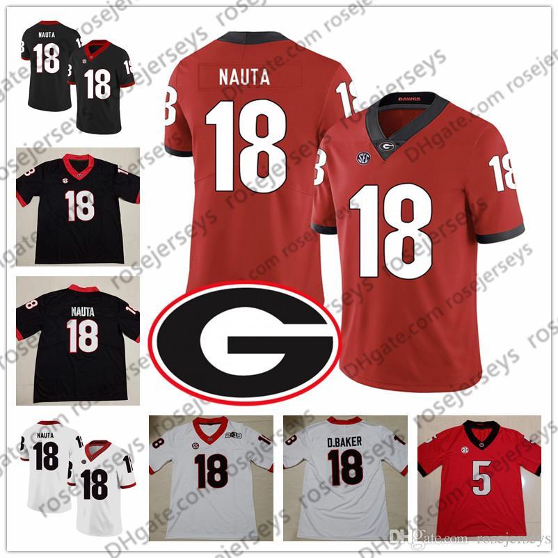 2019 UGA Georgia Bulldogs # 9 Alec Ogletree 11 Aaron Murray 15 D'Andre Walker 18 Deandre Baker Isaac Nauta Siyah Kırmızı Beyaz NCAA Jersey