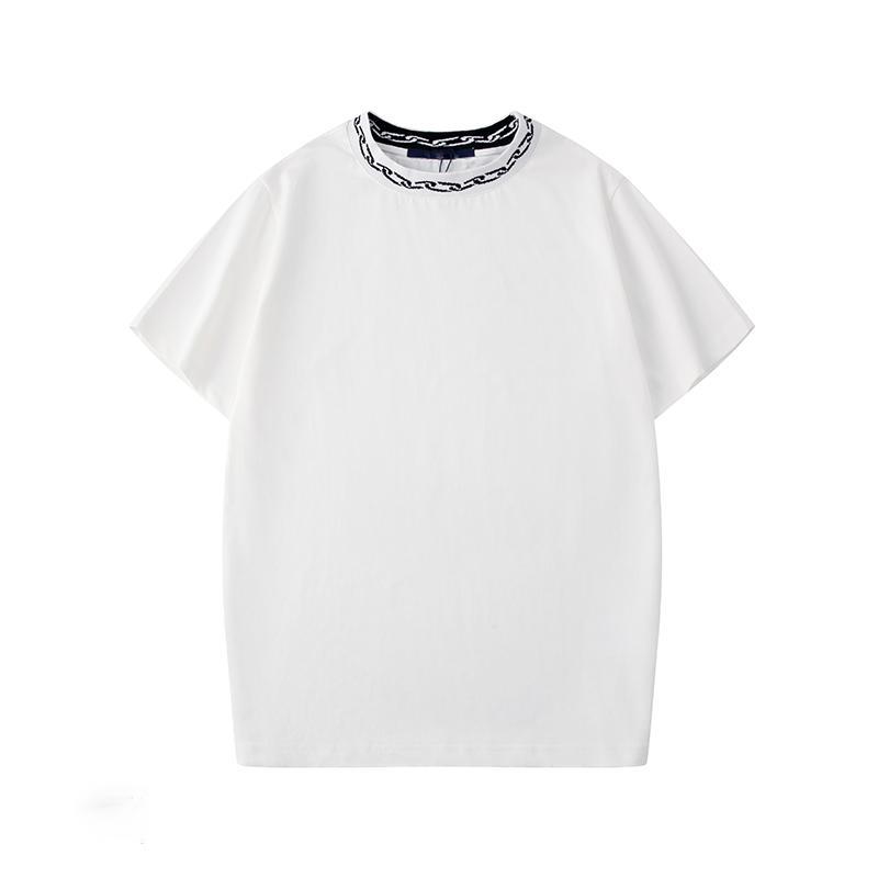 Vendimia caliente Europa de París bordado contraste tapas de la camiseta para hombre de las camisetas ocasionales Hombres Mujeres ropa de algodón T-FG906