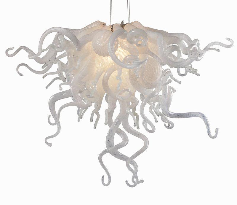 Moderne leichte handgeblasene Murano-Glas-Kronleuchter-Licht in klarer und milchiger weißer städtischer Entwurf für Tisch-Top-Dekoration LED-Pendelleuchten