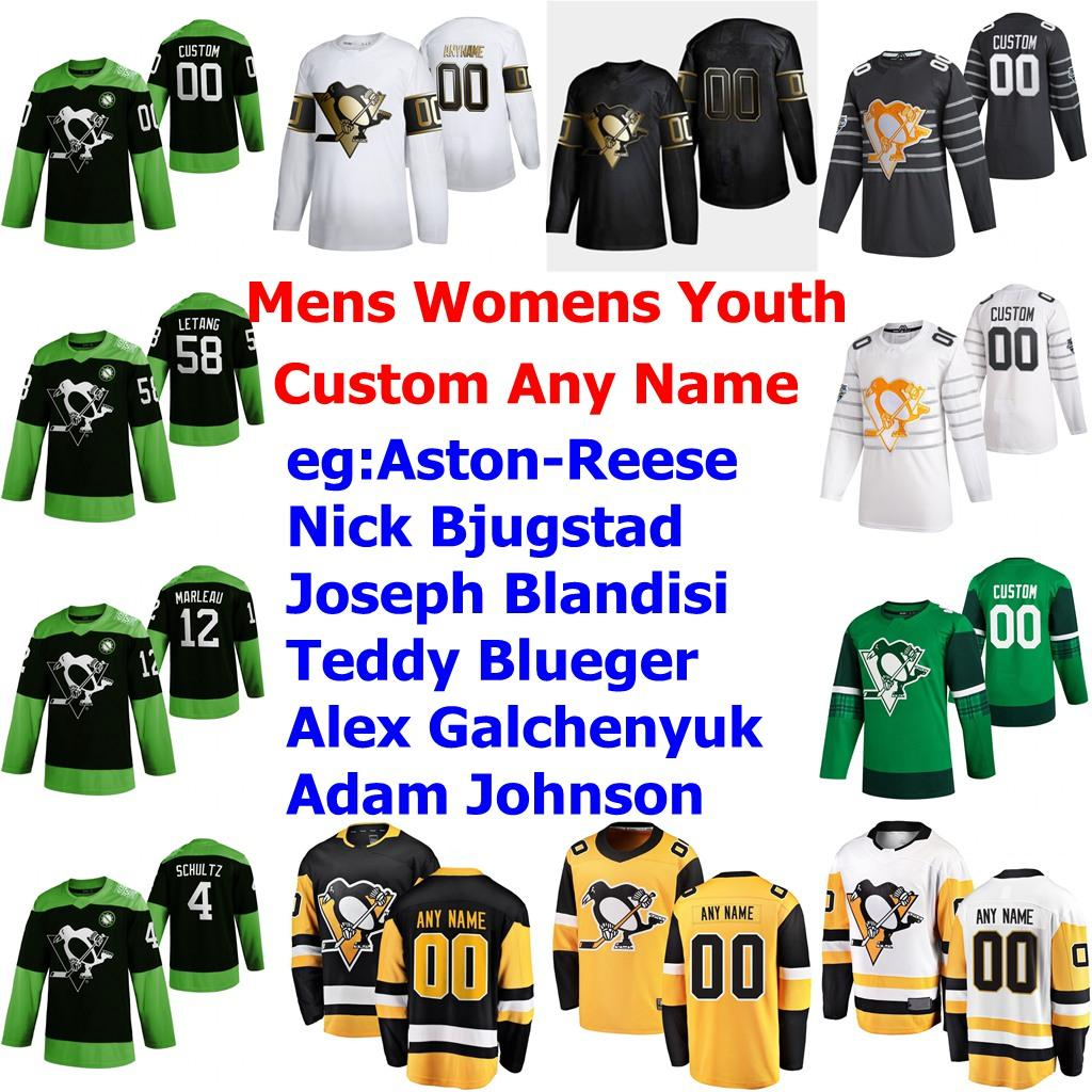 2020 Hockey Luta nCoV Pittsburgh Penguins Jerseys Dominik Kahun Jersey Jared McCann Bryan Rust Dominik Simon Brandon Tanev personalizado costurado