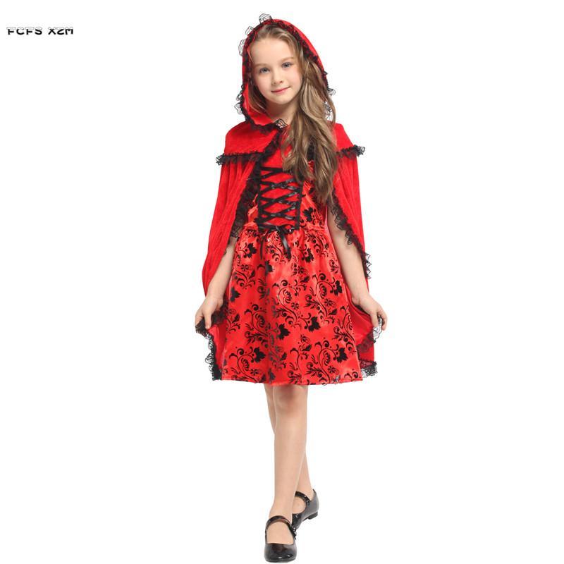 M-XL Kızlar Cadılar Bayramı Kırmızı Başlıklı Kız Kostümleri Çocuk Çocuk Anime Cosplay Karnaval Purim Noel Masquerade parti elbise