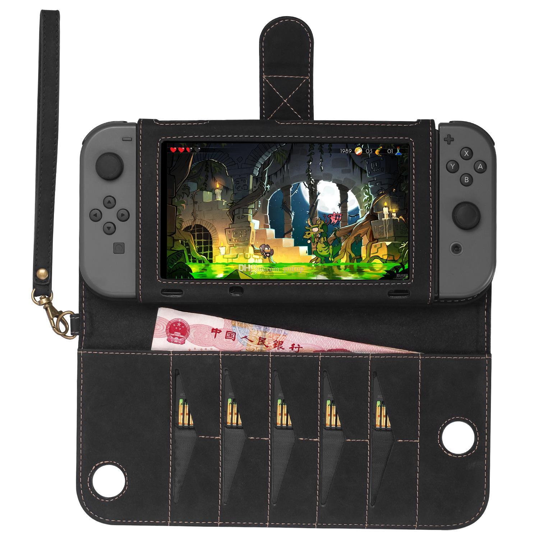 Caso de proteção para nintend switch portátil pu bolsa de transporte de couro capa com 10 titular do cartão de jogo suporte para ns console carteira