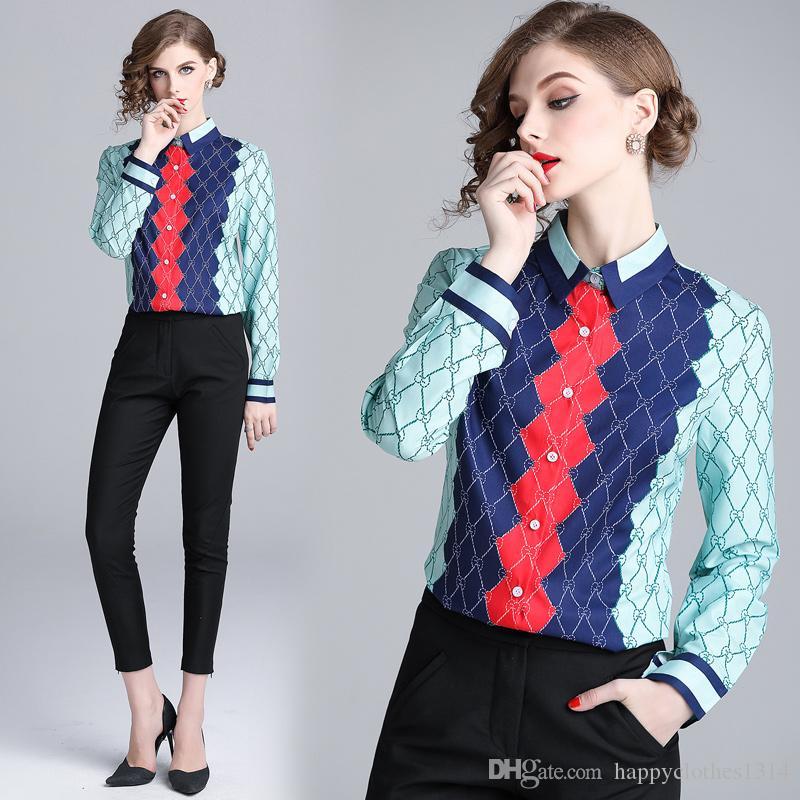 2020 جديد مدرج زر قميص مصمم قمم زائد الحجم المرأة طويلة الأكمام التلبيب الرقبة المطبوعة السيدات البلوزات ضئيلة القمصان مكتب أنيقة