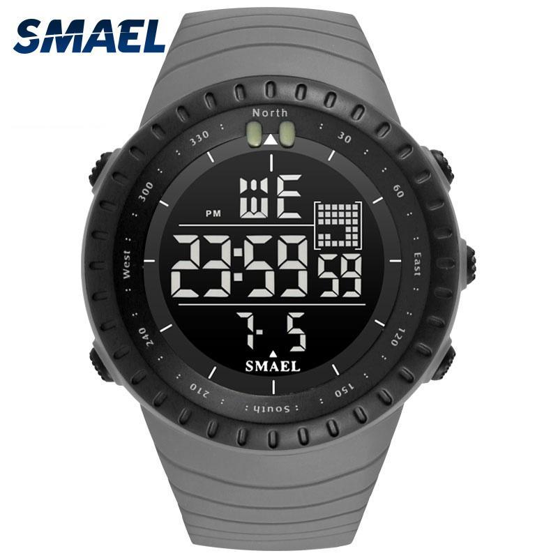2020 SMAEL Marca 2017 Nueva Electrónica reloj análogo de cuarzo Reloj de pulsera Reloj de 50 metros de alarma a prueba de agua para hombre Relojes Kol saati 1237