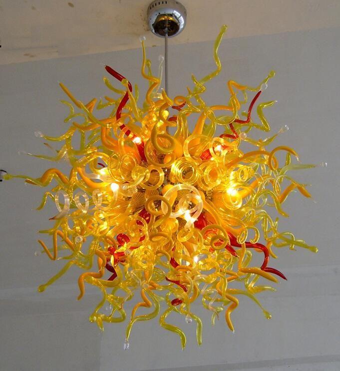 Современный стеклянный потолок Свет Оптово Современная Рука выдувное стекло китайского Люстра с LED Lights мозаичного стекла Подвеска Свет