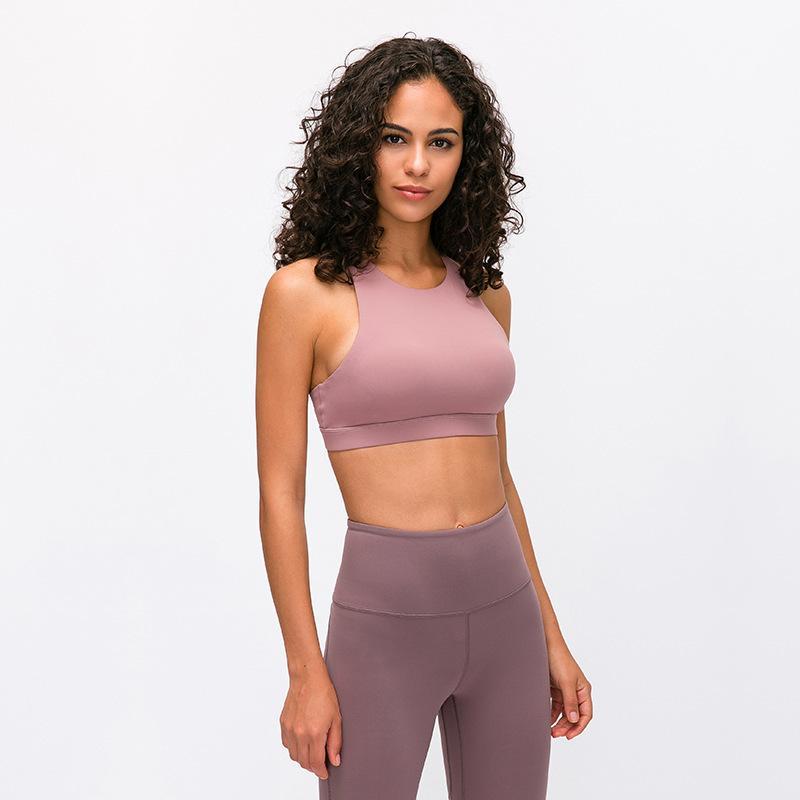 sostenes de yoga posterior Mujer hermosa cruce de los deportes de gimnasia ropa interior de color sólido se reúnen sujetador ropa de yoga para las mujeres