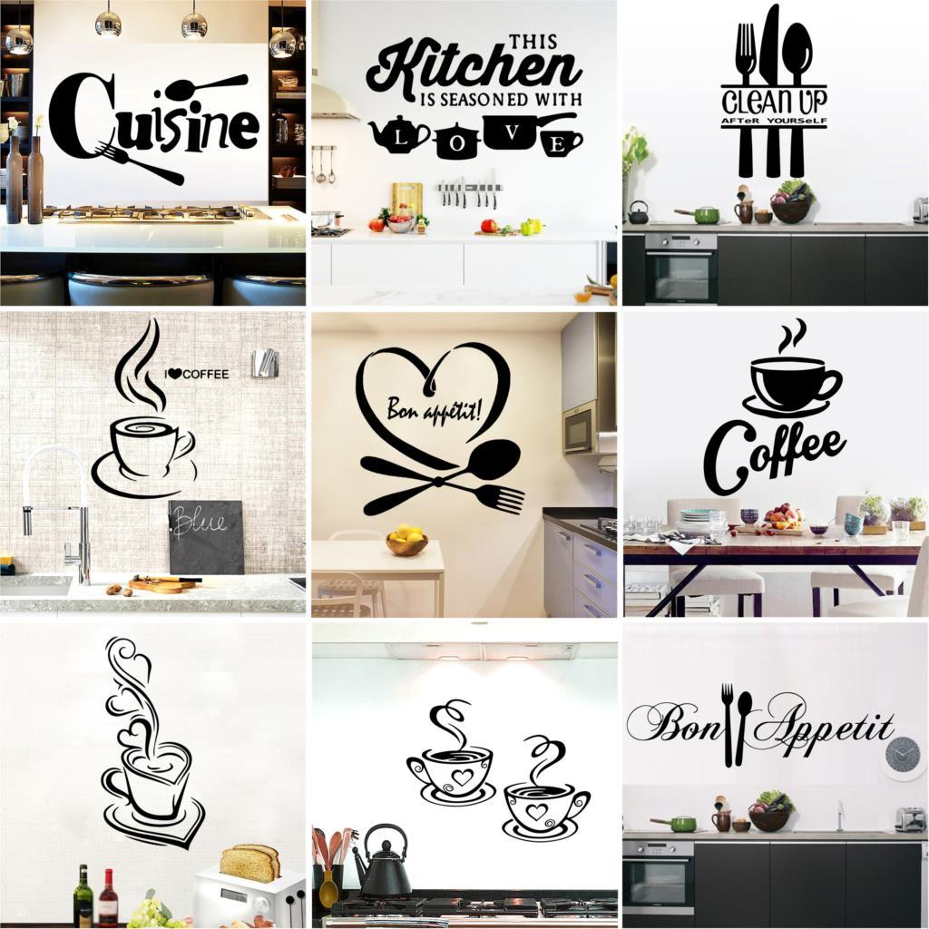 Acheter Grande Cuisine Sticker Mural Cuisine Café Autocollants En Vinyle  Affiche Maison Décoration Accessoires Décoration Murale Papier Peint