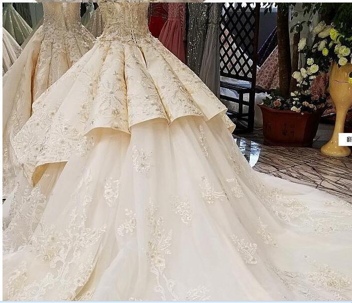 01Sleeveless Vintage Luxury Bridal Train Wedding Dress 2018 Off Shoulder Sexy High-end Custom Wedding Gown Real Photo