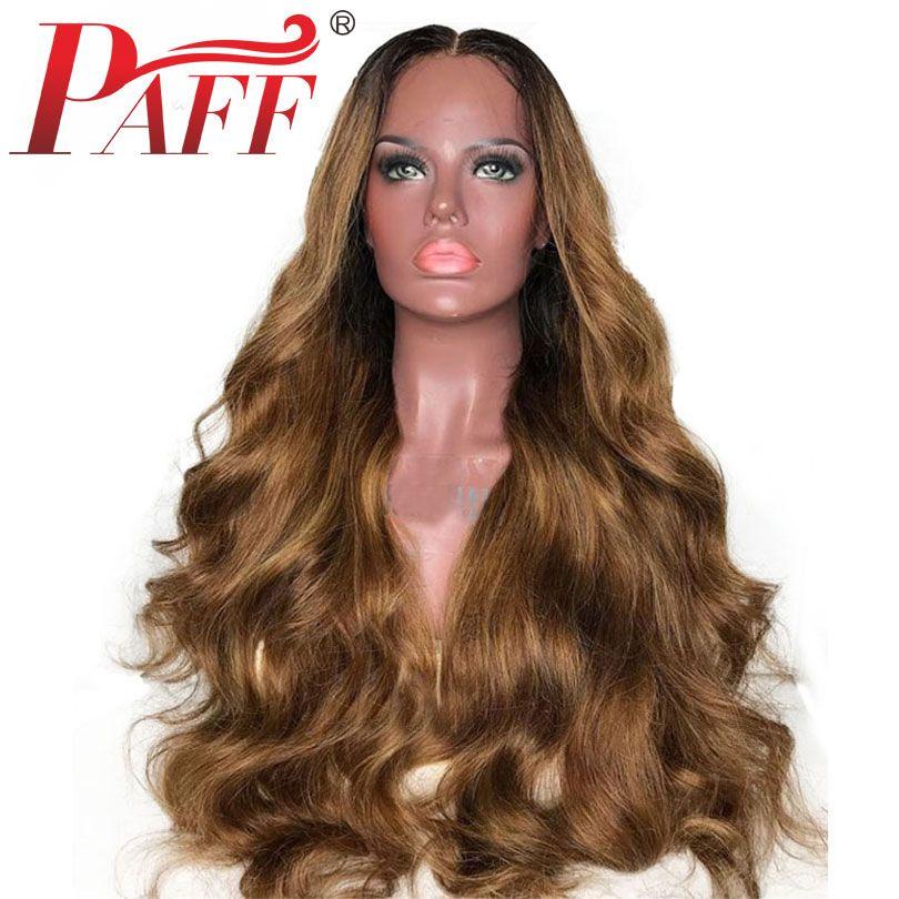 Parrucche per capelli umani anteriori in pizzo PAFF 30 # per le donne Parrucche ondulate per capelli ondulati Malesia Remy color miele Parrucche frontali in pizzo pre pizzicato marrone miele