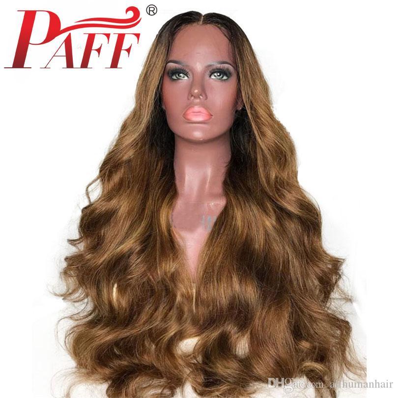 PAFF 30 # Pelucas de cabello humano con frente de encaje para mujeres Ombre Color ondulado Malasia Pelucas de cabello Remy Miel Marrón Pelucas frontales de encaje pre-desplumado