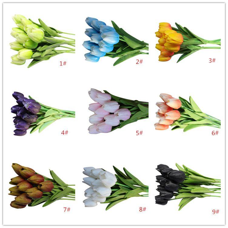 Látex Tulipanes Artificial PU ramo de flores Real touch flores Para la decoración del hotel Inicio Boda Flores Decorativas 19 Opción de colores
