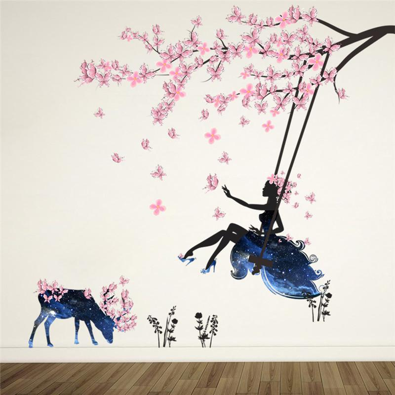 Romantic Flower Fairy Swing Wall Stickers for Kids Room Wall Decor Bedroom Living Room Children Girls Room Decal Poster Mural