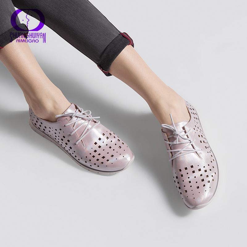 AIMEIGAO Yeni Gelenler Moda Günlük Ayakkabılar Kadınlar Lace Up Düz Ayakkabı Nefes Siyah Günlük Ayakkabılar Yüksek Kalite sapatos femininos CJ191226