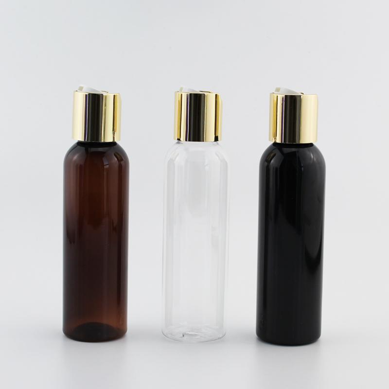 120ML 40PCS زجاجة فارغة الأسود الصابون السائل لوسيون مستحضرات التجميل الحاويات الذهب الألومنيوم القرص الأعلى كاب، كاب المعادن لوسيون زجاجات 4oz سعرنا