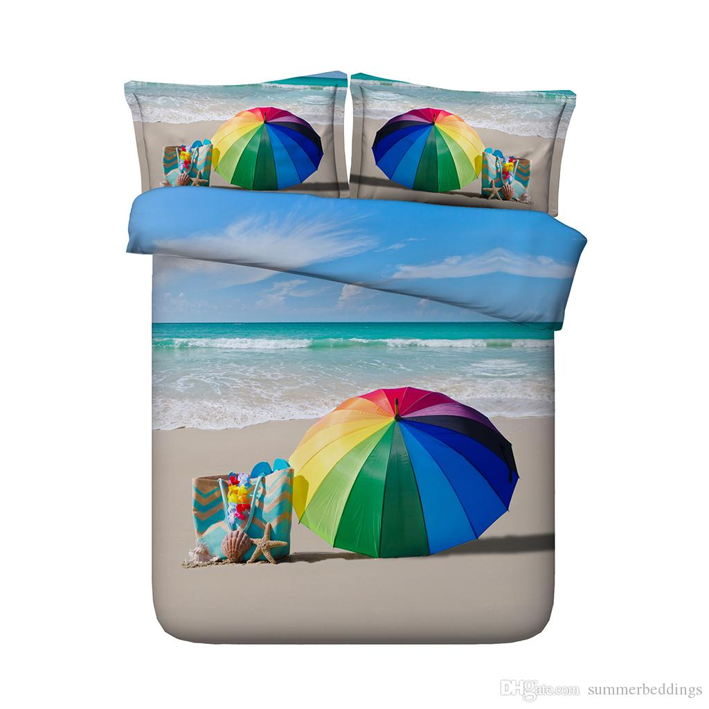 Beach umbrella duvet 3-Piece Bedding Set With Pillow Shams Coastal Bedspread Coverlet Seashells Ocean Wave Comforter Cover Seascape Ocean