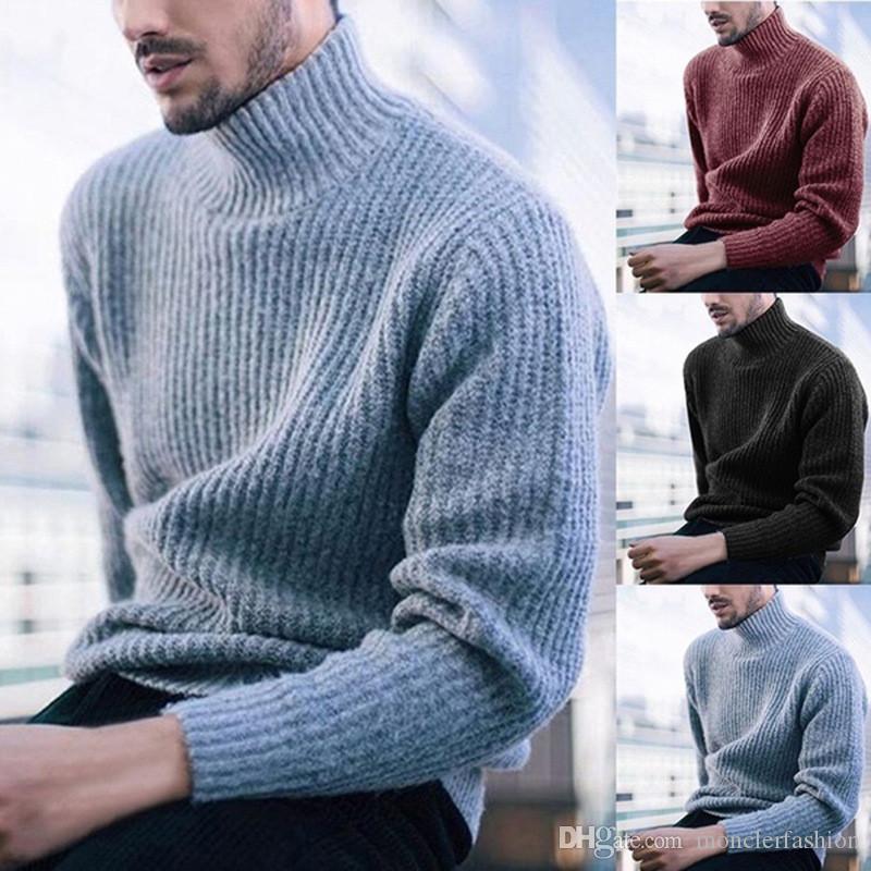 Сплошной цвет Мужские дизайнерские Свитера Повседневный Сыпучие длинными рукавами высокий воротник Пуловеры моды мужские свитера