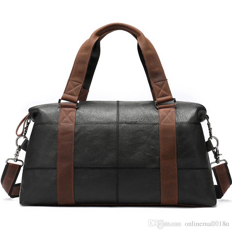 Bolsas de cuero Hombres grandes Totes genuinos Carry On Bag Travel Duffel Bolsos de mano Hombres Fin de semana Equipaje para Bolsa Plegable AVMGP AUIDP NHWTQ