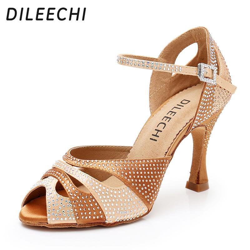 DILEECHI Latin Dance scarpe da donna Nuovo laser Strass Pesce bocca raso Salsa partito Ballroom Dancing Shoes bronzo della pelle tacco 9 centimetri