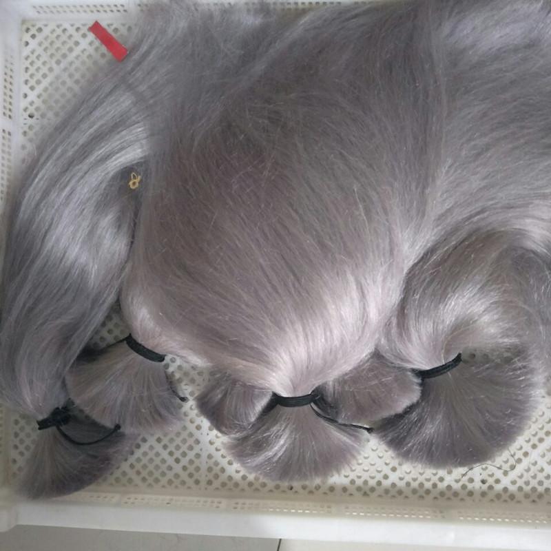 Elibess Marke - Menschenhaar-Masse einschlag keine Bestnote 8A Peruanischen brasilianische Silk gerades Haar-Verlängerung 300gr Silbergrau Farbe