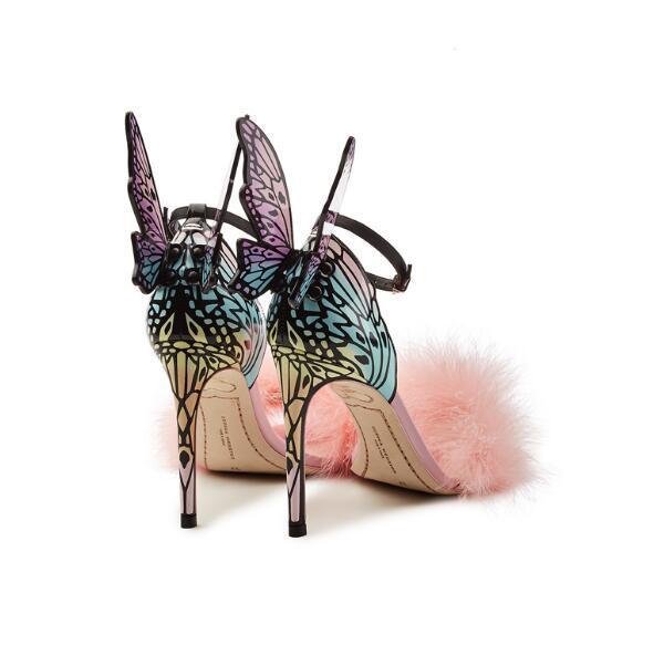 모피 파티 샌들 하이힐로 여성 신발 꽃 자수 검투사 샌들 여성 패션 나비 날개는 혼합 색상