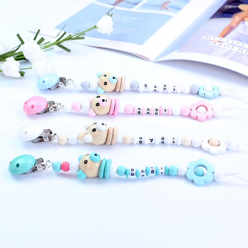 Cartoon Silicone Teething Pacifier Clips with Safe ABS Beads Wooden Pacifier Chain Holder for Nipples Baby Chew Toys